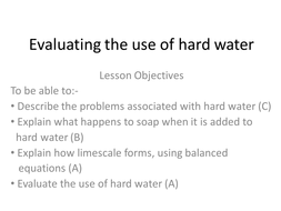 GCSE Chemistry C3 Series of lessons for water topic