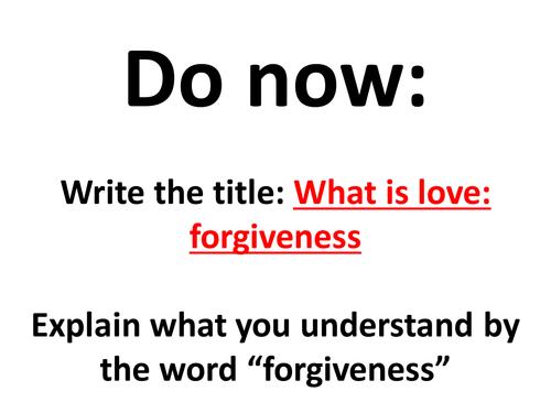 KS2KS3 Christianity RE Teaching of Jesus Forgiveness – Forgiveness Worksheet