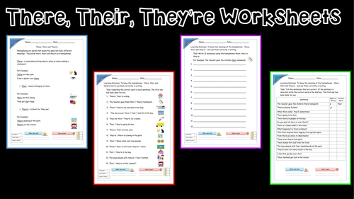 Their There And They 39 Re Year 2 Homophones Worksheets