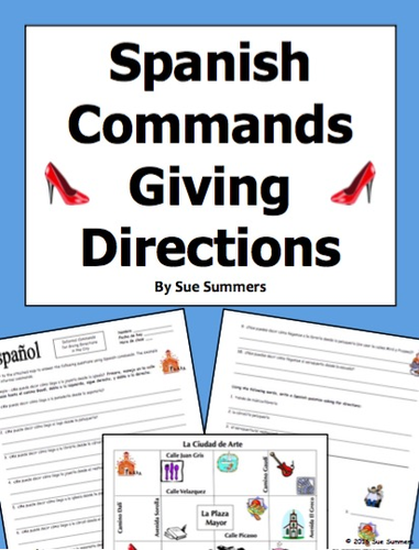 spanish commands and city vocabulary 10 giving directions response by suesummersshop teaching. Black Bedroom Furniture Sets. Home Design Ideas