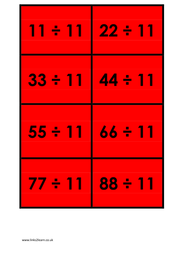 Wide range of 11 times table games activities for 11 times table game