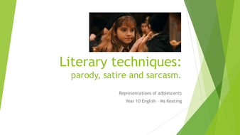 Literary Techniques Paraody Satire And Sarcasim Lesson Plan And