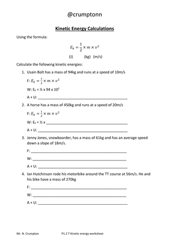 Worksheets Energy Calculations Worksheet motion and energy calculations worksheets by ncrumpton teaching resources tes