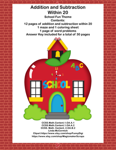 math addition subtraction within 20 worksheets fun school theme by mccormick33 us teacher. Black Bedroom Furniture Sets. Home Design Ideas