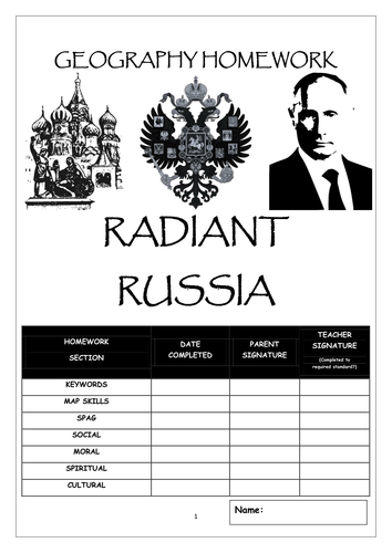 Homework Booklet: 'RADIANT RUSSIA'