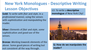 new york descriptive monologue writing by engageinenglish  new york monologues descriptive writing pptx new york 1
