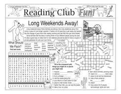 Bundle: Travel and Long Weekends Two-Page Activity Set and Word Search Puzzle