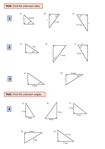 Maths: 2 worksheets for teaching Basic Trig (soh cah toa) by ajf43 ...