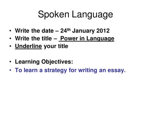 spoken language features essay