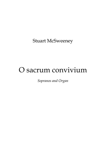 O sacrum convivium (Soprano with Organ accompaniment)