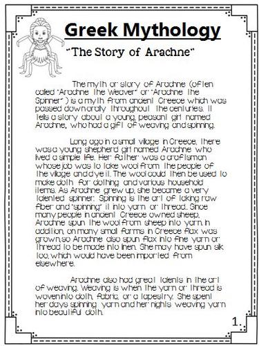 greek mythology the story of arachne packet by theteacherteam greek mythology the story of arachne packet by theteacherteam teaching resources tes