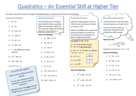 Solving Quadratic Equations - Mixed Method Revision Sheet