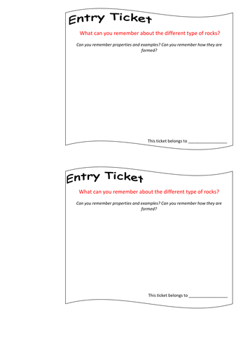 entry tickets template entry and exit ticket by danniw12345 teaching resources