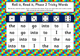 Roll it, read it Phonics games phases 2-5 tricky words
