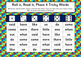 roll it read it phonics games phases 2 5 tricky words by