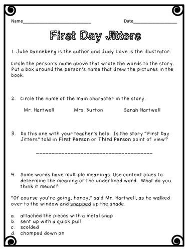 First Day Jitters by mrsschoolteacher - Teaching Resources - TES