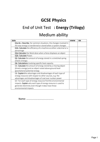 New Gcse Physics : Energy exam (Trilogy)