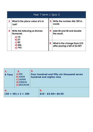 Short Maths Quiz Worksheets for Year 7 by debbiewand - Teaching ...