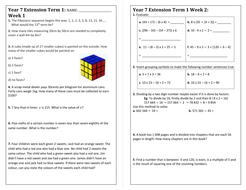 Maths Extension Homework Sheet: Year 7 by debbiewand - Teaching ...