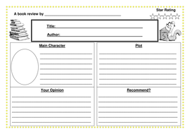book review template for upper primary by pkramsden teaching