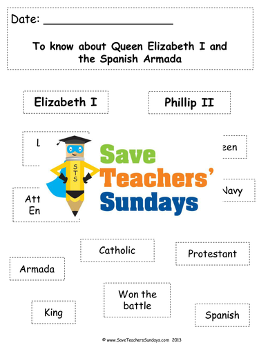 queen elizabeth i and the spanish armada ks1 lesson plan and worksheet by saveteacherssundays. Black Bedroom Furniture Sets. Home Design Ideas