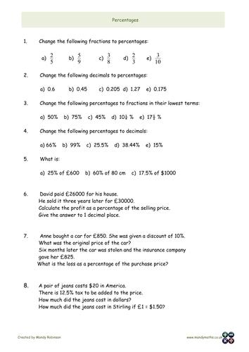 Percentages - increase decrease , changing between decimals, fractions, percentages L1 L2 GCSE