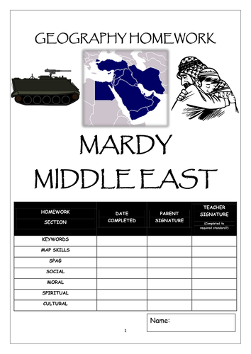 Homework booklet: MARDY MIDDLE EAST