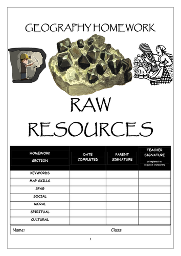 Homework booklet: RAW RESOURCES