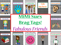 MiMi Sue's Brag Tags (Fabulous Friends/Primary Behaviors) 36 Designs SWAG