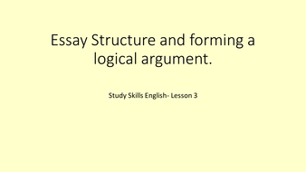 A Level English Study Skills Resources By Chuckstermoose  Teaching   Essaystructureandformingalogicalargumentlesson