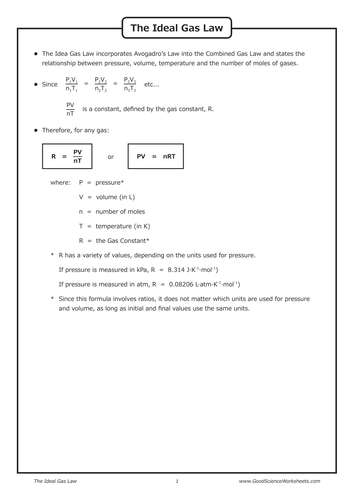 Gas Laws The Ideal Gas Law By Goodscienceworksheets