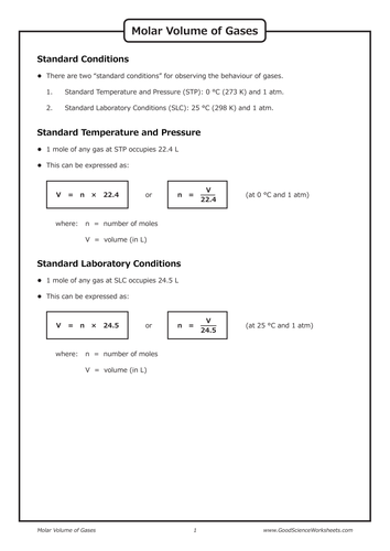 Gas Laws Molar Volume Of Gases By Goodscienceworksheets