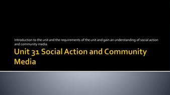 Social And Community Media Production  BTEC Media Unit