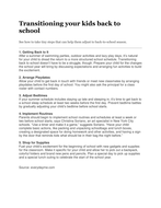Transitioning You Child Back To School