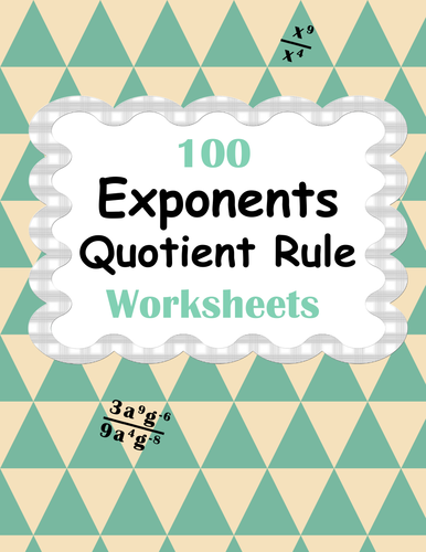 exponents quotient rule worksheets by bios444 uk teaching resources tes. Black Bedroom Furniture Sets. Home Design Ideas