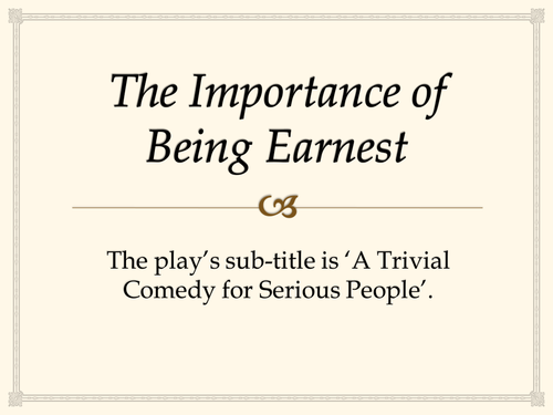The importance of being earnest and the dramatic comedy for Farcical comedy in the importance of being earnest