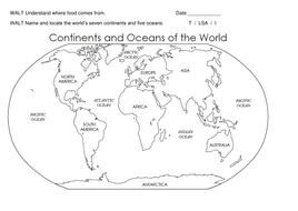 Continents and oceans worksheet - Key Stage 1 Year 2 Science