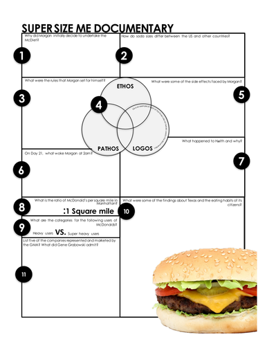 super size me print and go worksheets for analysis of the fast food documentary by. Black Bedroom Furniture Sets. Home Design Ideas
