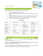Introduction and Measuring Elements of Weather