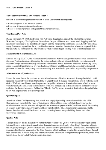 Year 13 6th form: History Edexcel New Specification - British Empire Unit 3, Week 2, Lesson 3