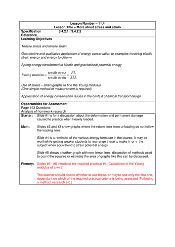 Physics A-Level Year 1 Lesson - More about Stress and Strain  (PowerPoint AND lesson plan)