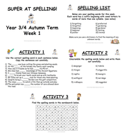 Year 3/4 Super at Spelling Activity Bundle
