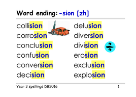 Year 3 spellings: word endings: -sion [zhn] [as in illusion] - ppt,  activities and pictures