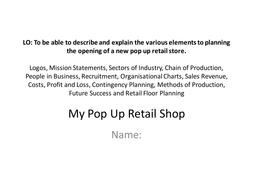 Business Studies Pop Up Retail Shop Planning