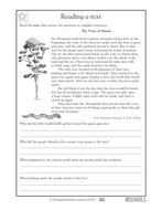 Comprehension Practice with answers