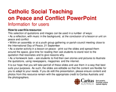 Catholic Social Teaching on Peace and Conflict