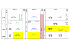 Example Year 2 Timetable