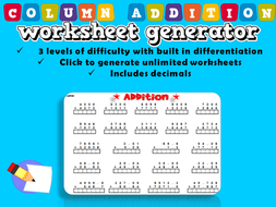 column addition worksheet generator by ambowers  teaching  column addition worksheet generator