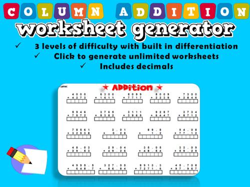 Column Addition Worksheets Generator - mattawa