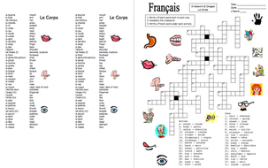 French Body Parts Crossword Puzzle and Image IDs by